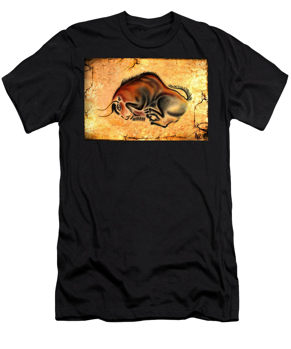 Cave Painting Men's T-Shirt (Athletic Fit) featuring the drawing Cave Painting by Alessandro Della Pietra