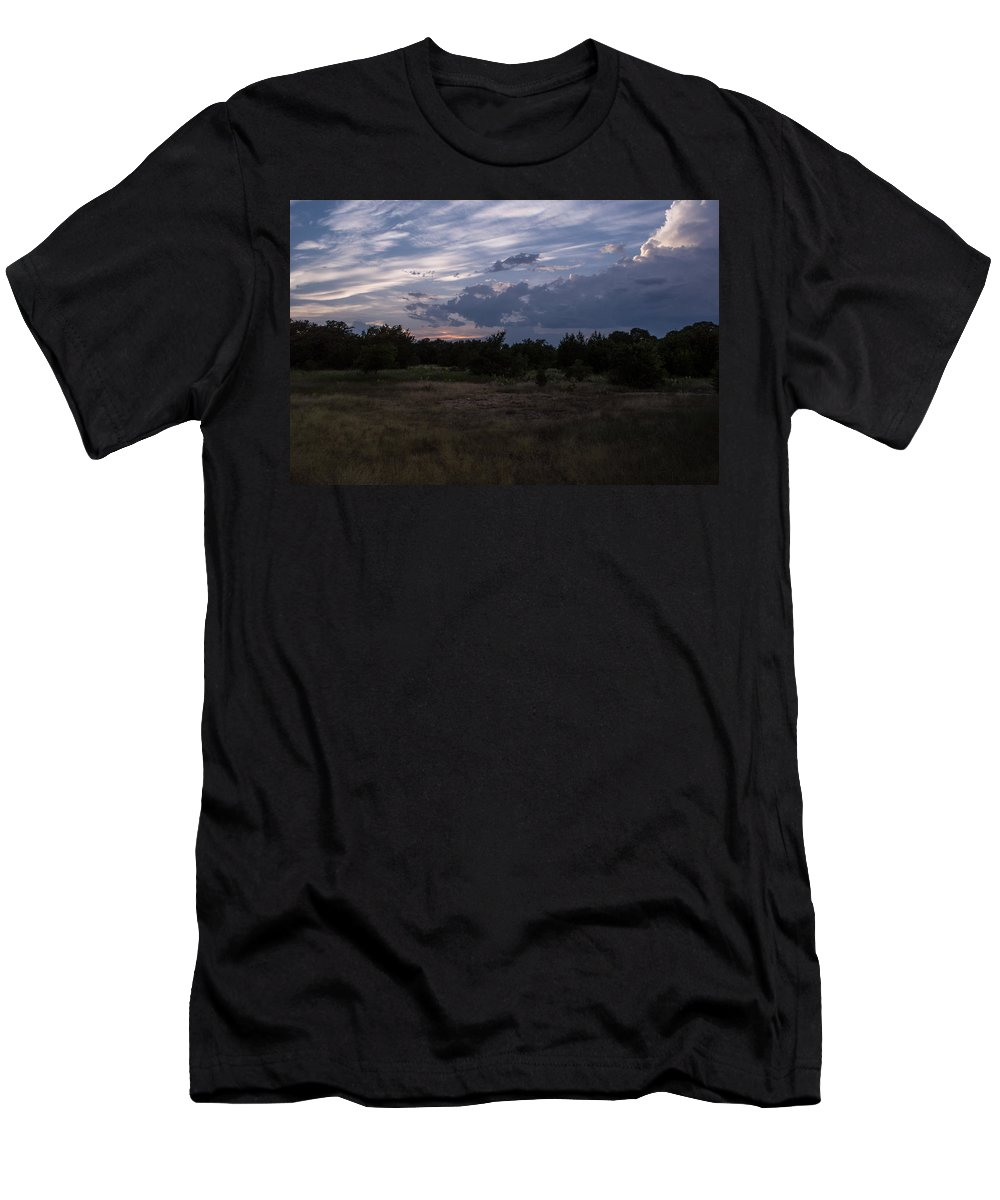 Texas Men's T-Shirt (Athletic Fit) featuring the photograph Cedar Park Texas Cedar And Clouds Sunset by JG Thompson