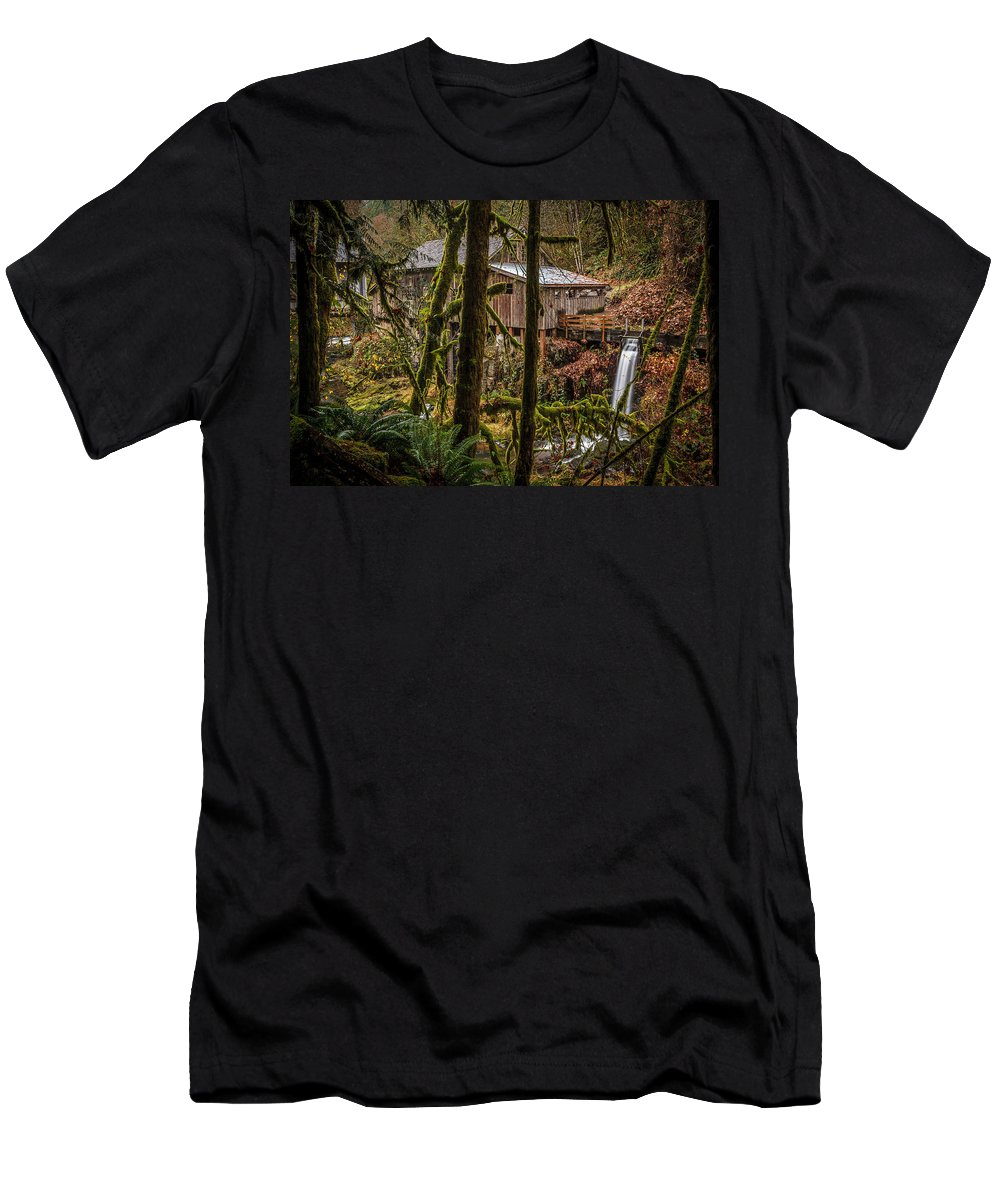 Cedar Creek Grist Mill Men's T-Shirt (Athletic Fit) featuring the photograph Cedar Creek Grist Mill 2 by Mike Penney