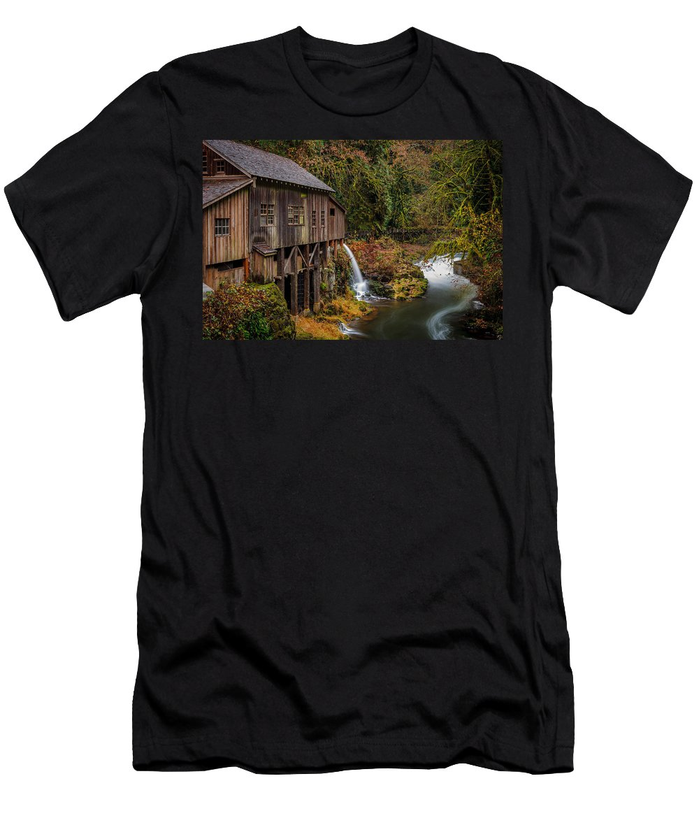 Cedar Creek Grist Mill Men's T-Shirt (Athletic Fit) featuring the photograph Cedar Creek Grist Mill by Mike Penney