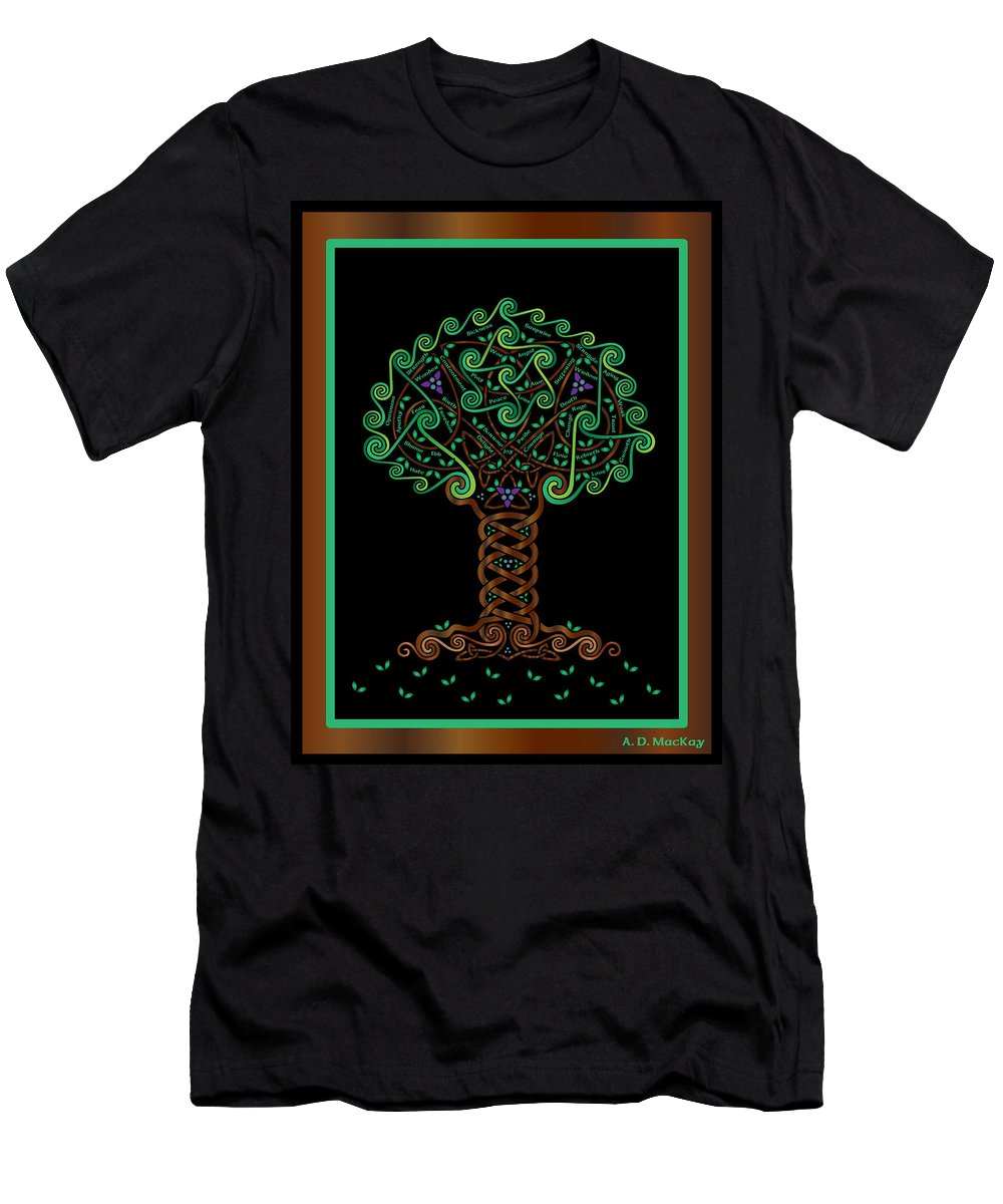 Celtic Art Men's T-Shirt (Athletic Fit) featuring the digital art Celtic Tree Of Life by Celtic Artist Angela Dawn MacKay