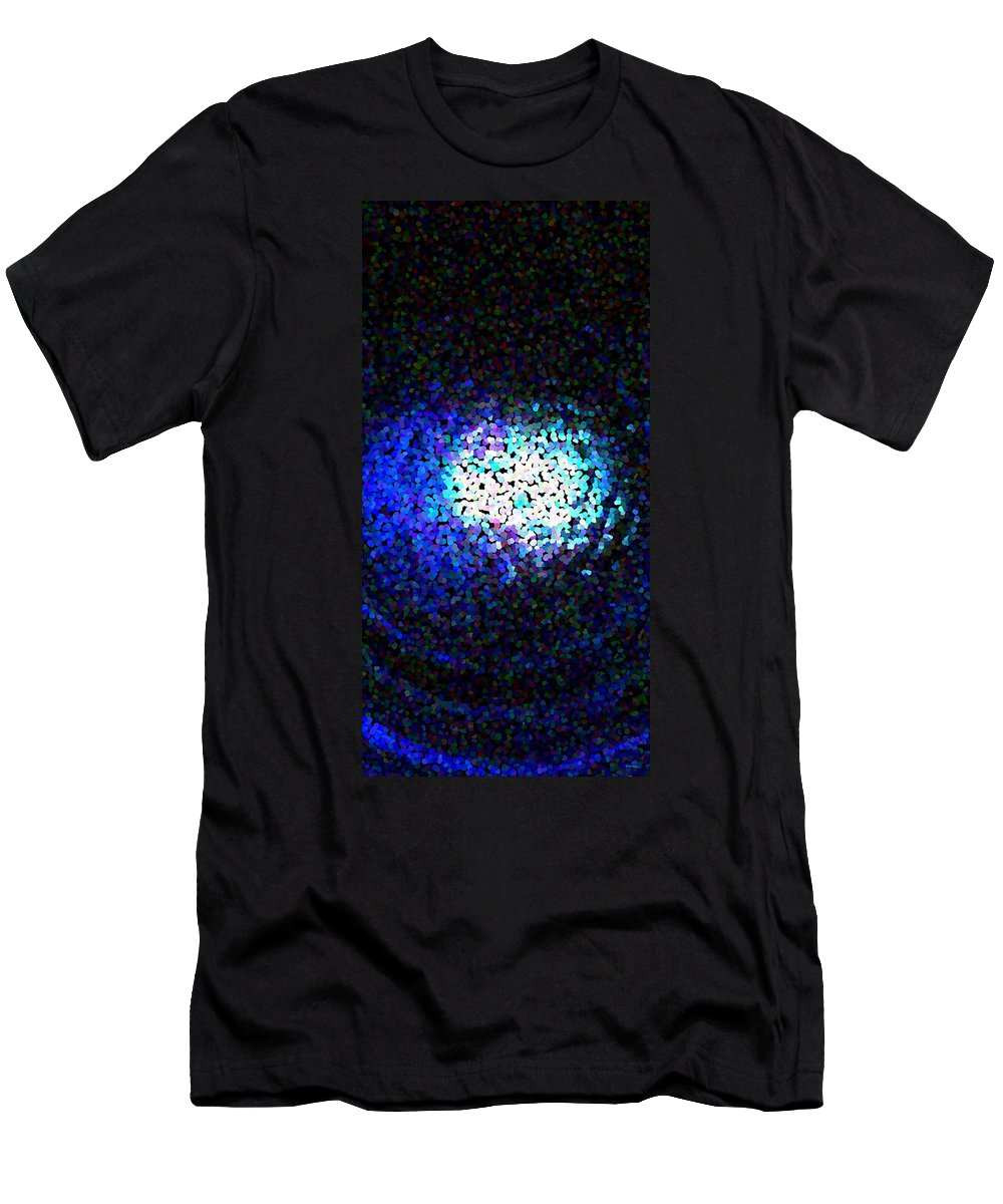 Abstract Men's T-Shirt (Athletic Fit) featuring the digital art Cerulean Pixels by James Kramer
