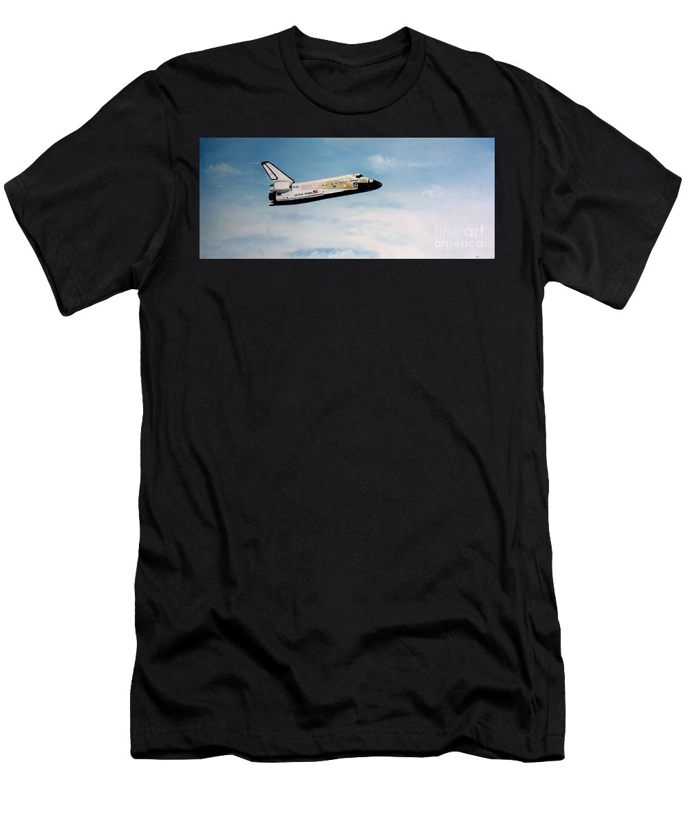 Shuttle Men's T-Shirt (Athletic Fit) featuring the painting Challenger by Murphy Elliott