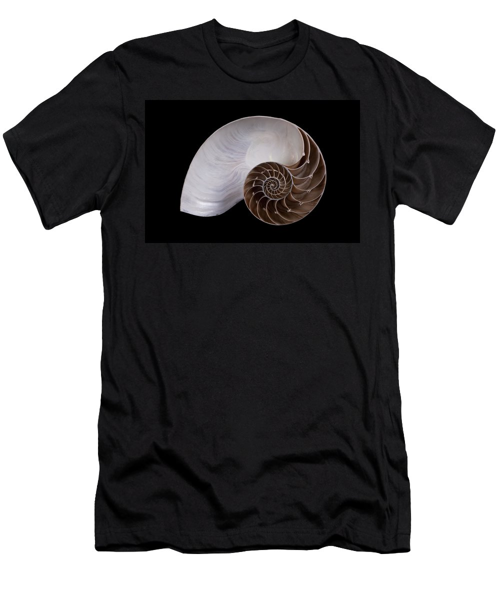 Feb0514 Men's T-Shirt (Athletic Fit) featuring the photograph Chambered Nautilus Cross-section by Ingo Arndt