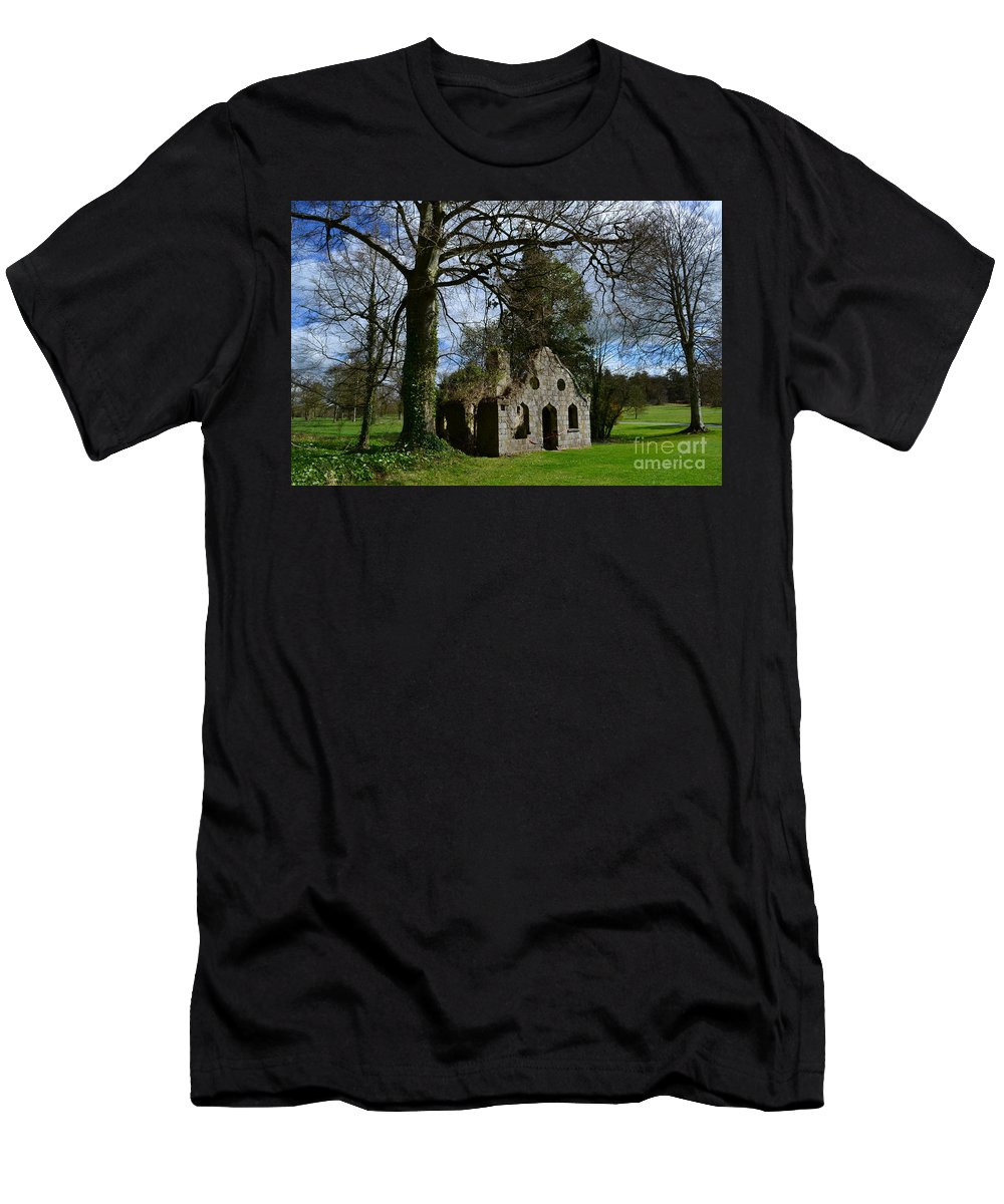 Ruins Men's T-Shirt (Athletic Fit) featuring the photograph Chapel Ruins by DejaVu Designs