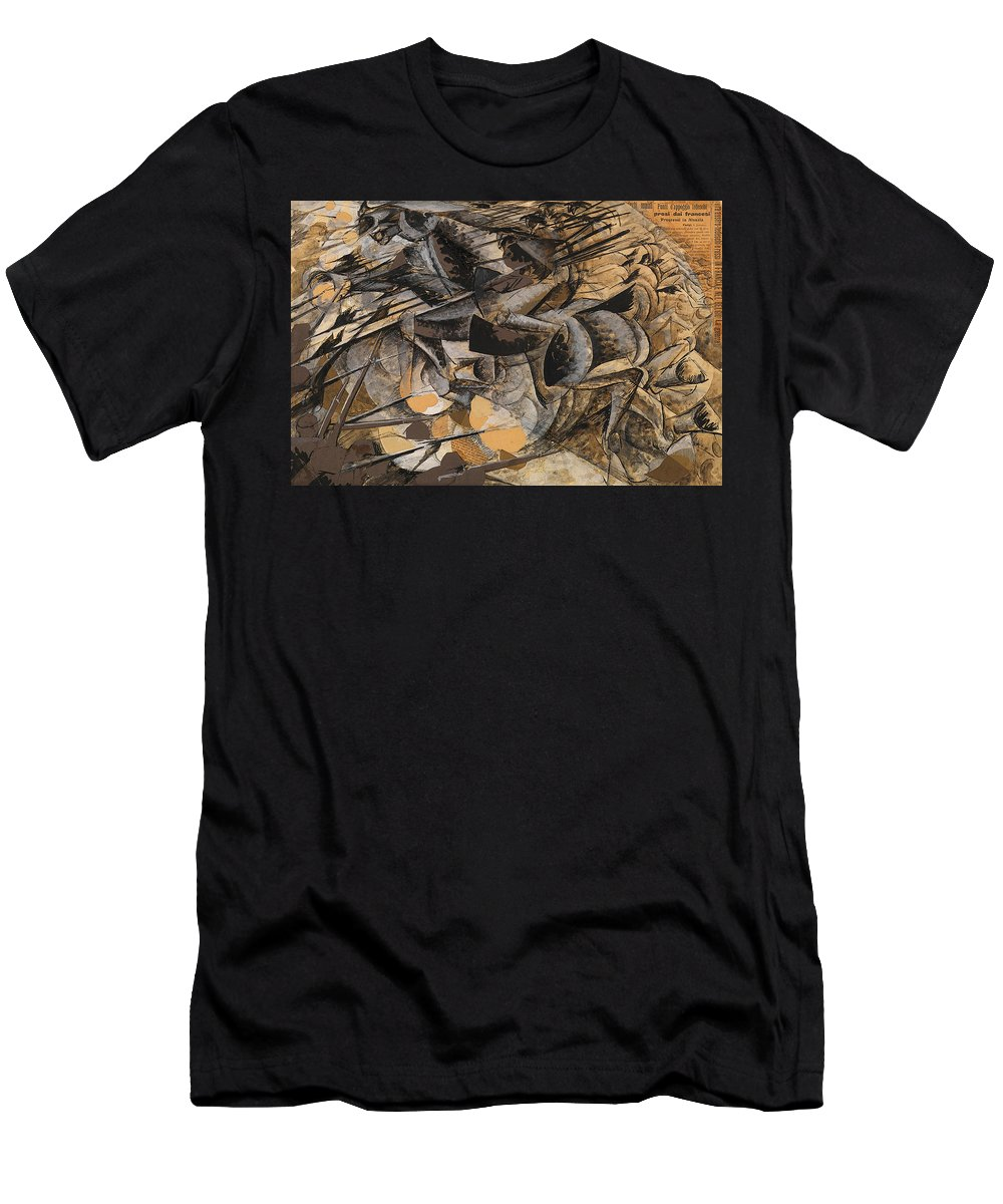Boccioni Men's T-Shirt (Athletic Fit) featuring the painting Charge Lancers by Umberto Boccioni