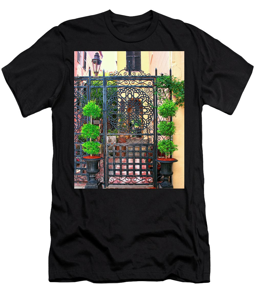 Charleston Men's T-Shirt (Athletic Fit) featuring the photograph Charleston Gate Charleston Sc by William Dey