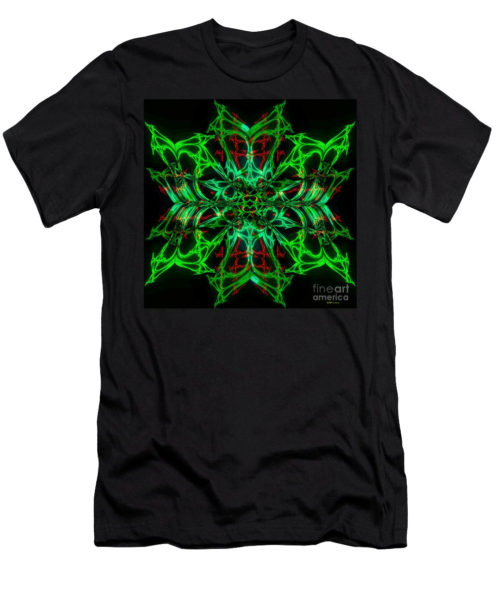 Fractal Art Men's T-Shirt (Athletic Fit) featuring the digital art Charlotte's New Freakin' Awesome Neon Web by Elizabeth McTaggart