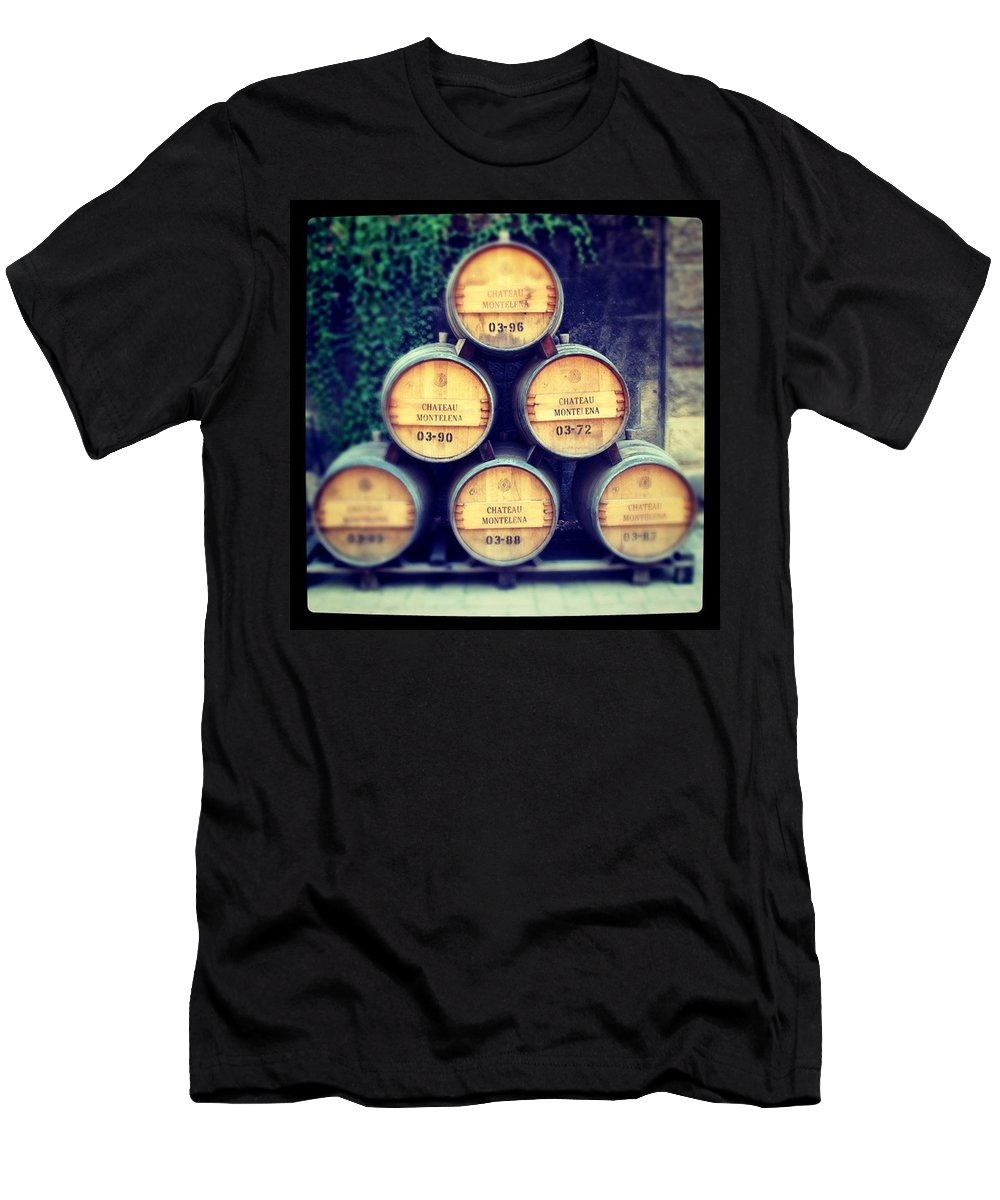 Chateau Men's T-Shirt (Athletic Fit) featuring the photograph Chateau Barrels by Jean Macaluso