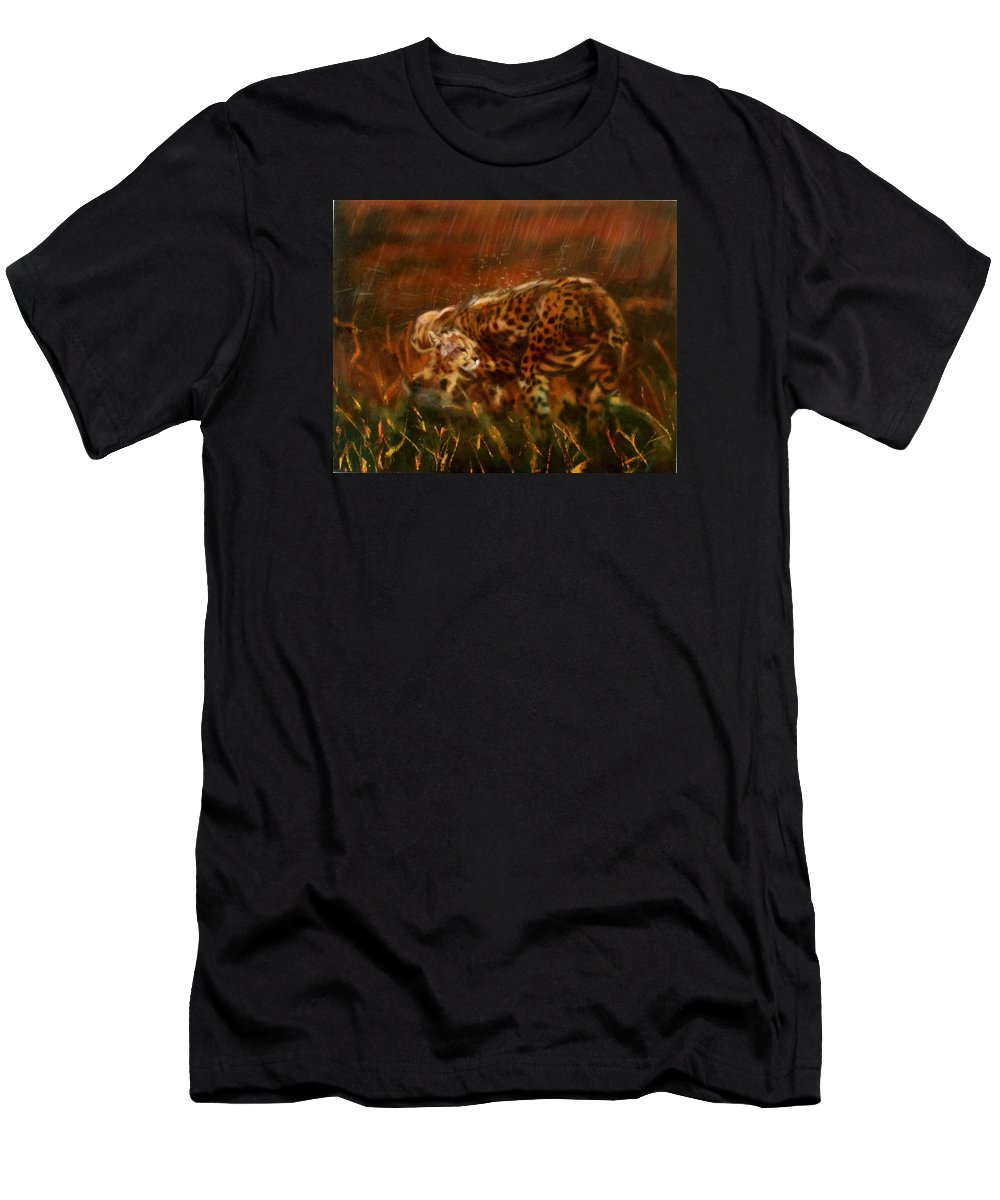 Rain;water;cats;africa;wildlife;animals;mother;shelter;brush;bush Men's T-Shirt (Athletic Fit) featuring the painting Cheetah Family After The Rains by Sean Connolly
