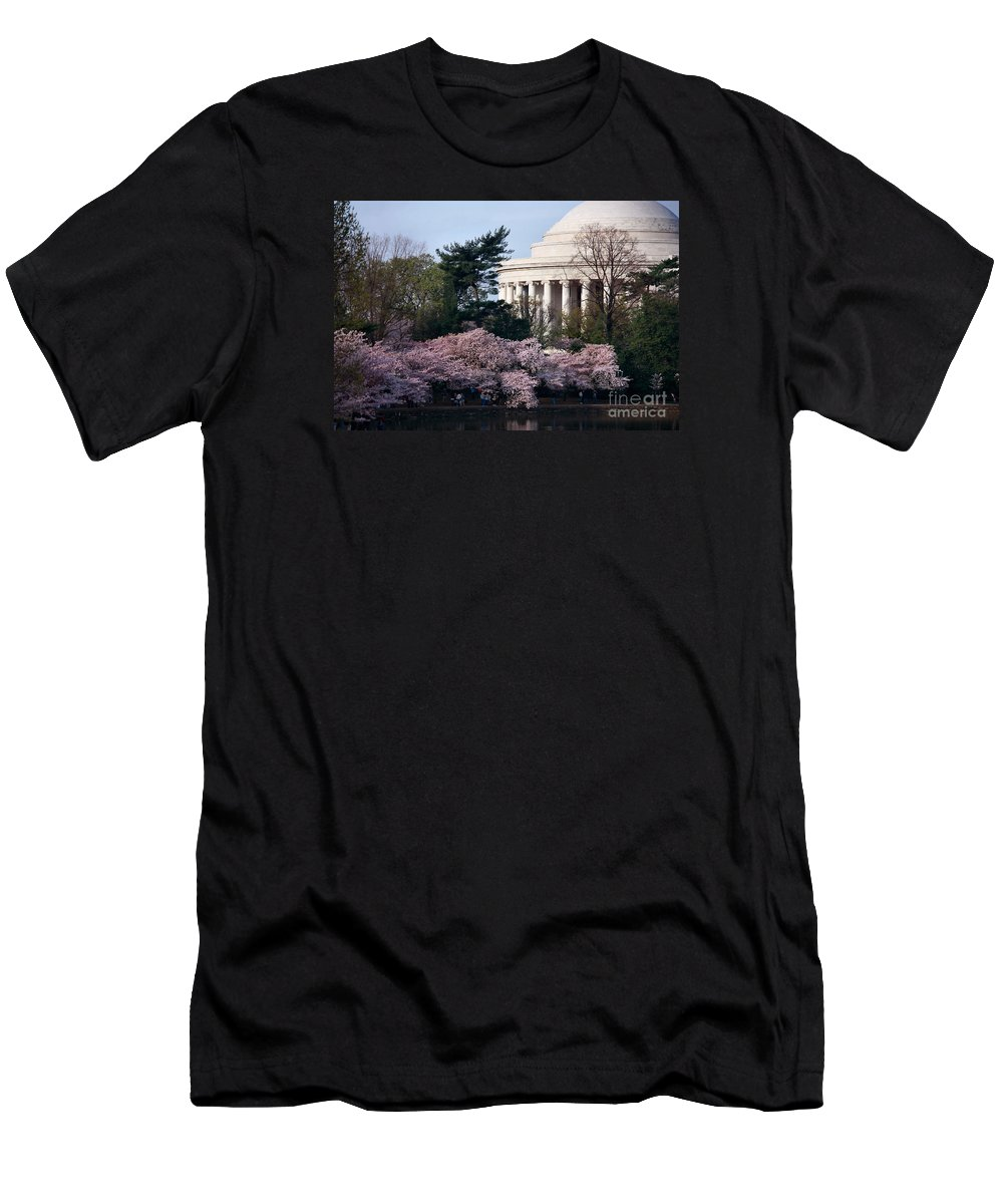 Cherry Blossoms Men's T-Shirt (Athletic Fit) featuring the photograph Cherry Blossoms Jefferson Memorial by Luv Photography