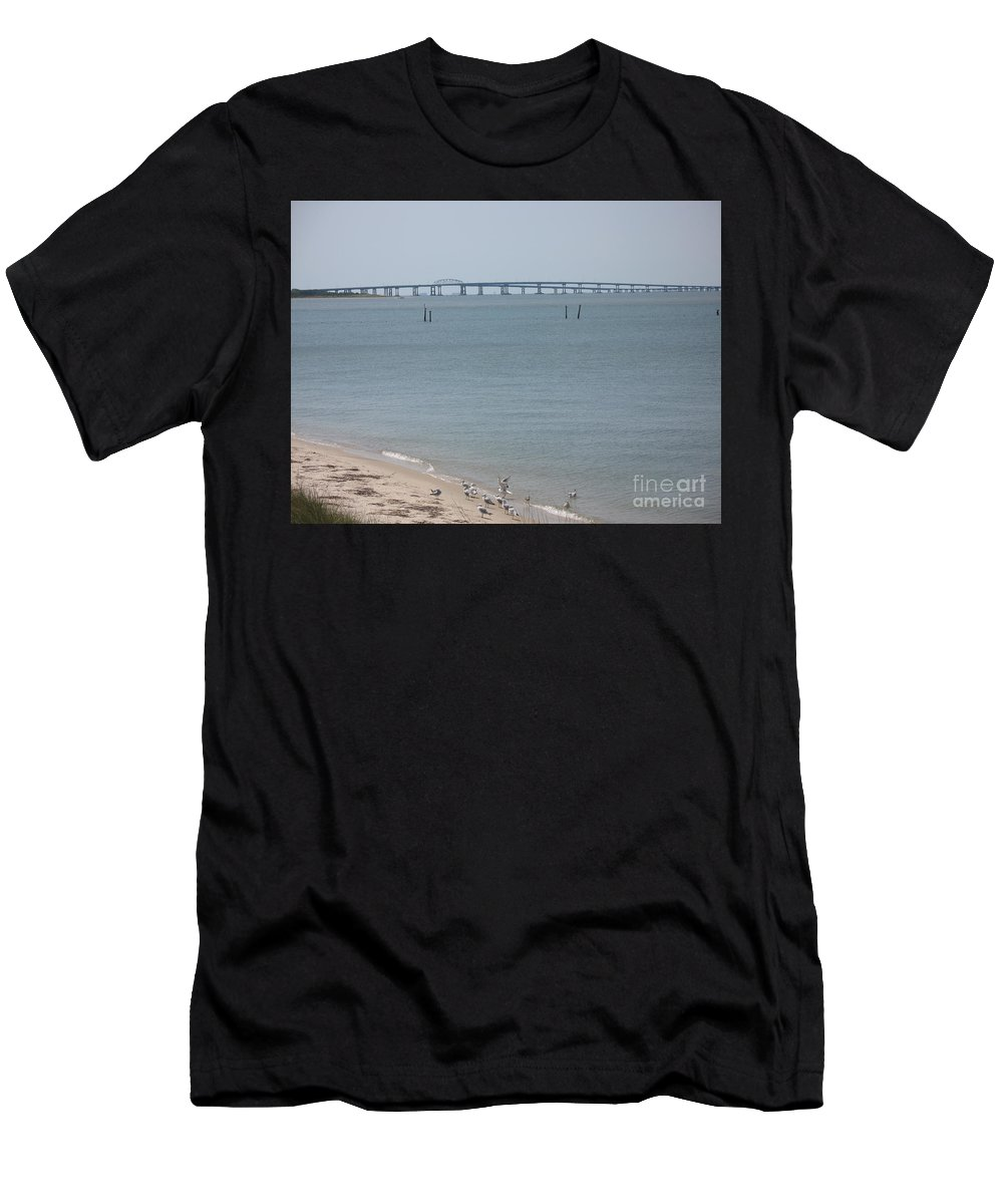 Bay Men's T-Shirt (Athletic Fit) featuring the photograph Chesapeake Bay Bridge - Tunnel by Christiane Schulze Art And Photography