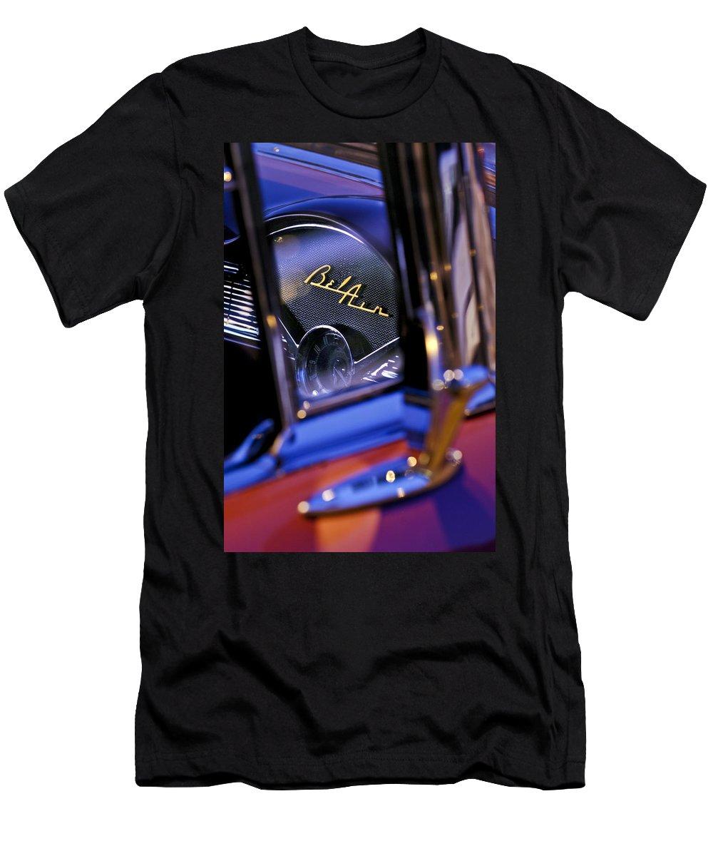 Chevrolet Belair Dash Board Emblem Men's T-Shirt (Athletic Fit) featuring the photograph Chevrolet Belair Dash Board Emblem -754c by Jill Reger