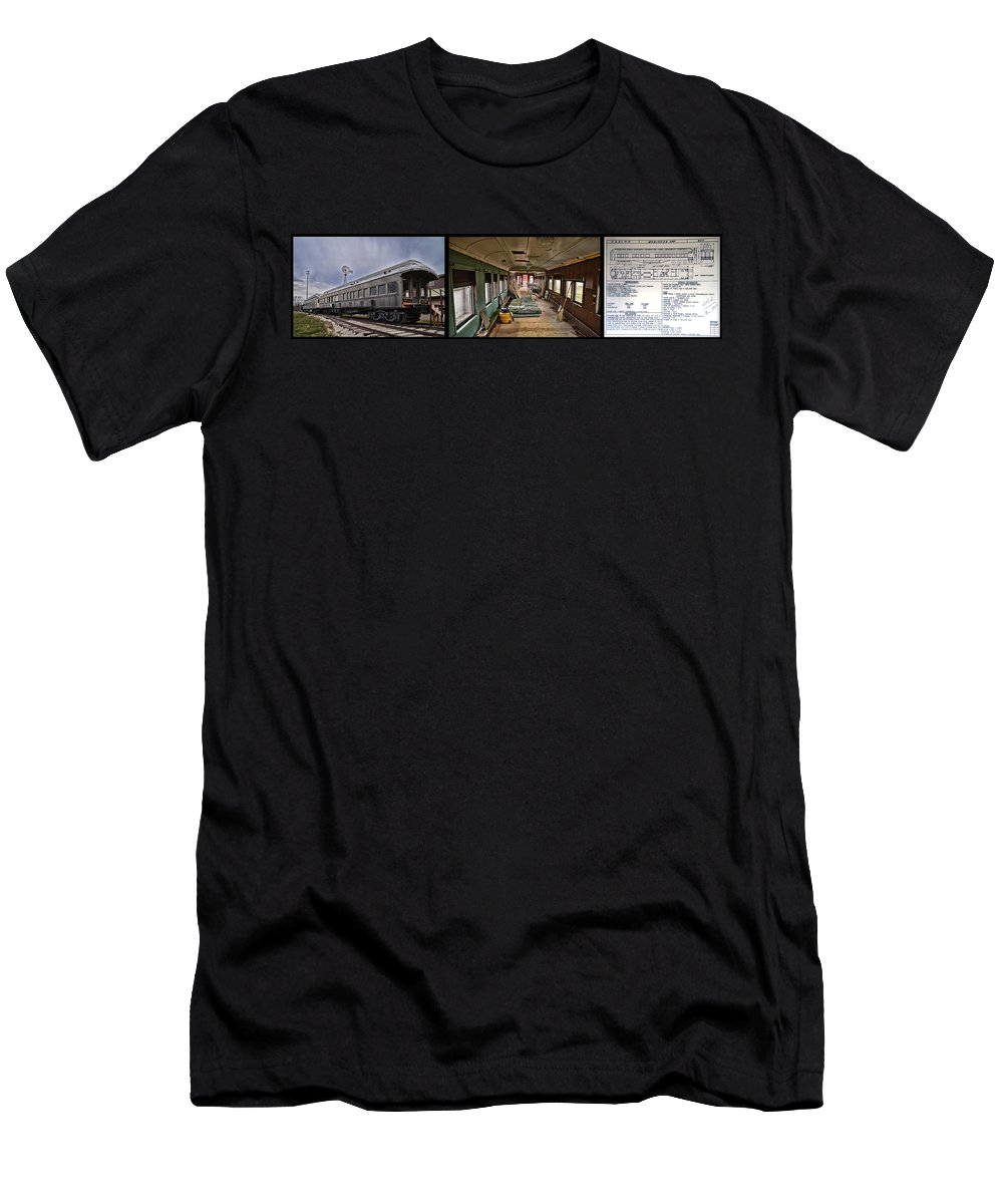 C&e Il Men's T-Shirt (Athletic Fit) featuring the photograph Chicago Eastern Il Rr Car Restoration With Blue Print by Thomas Woolworth