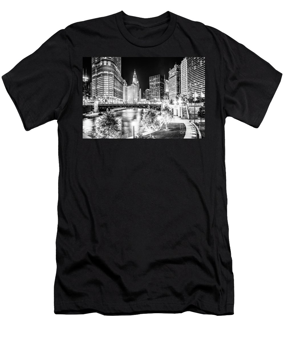 America T-Shirt featuring the photograph Chicago River Buildings at Night in Black and White by Paul Velgos