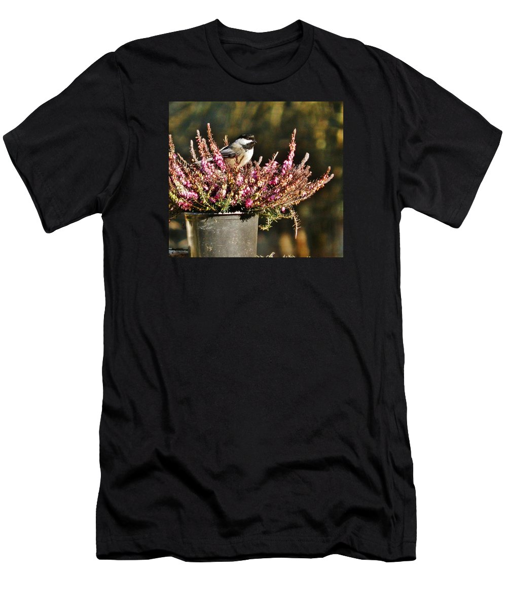 Bird Men's T-Shirt (Athletic Fit) featuring the photograph Chickadee On Heather by VLee Watson
