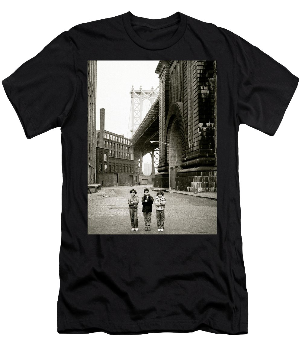 New York Men's T-Shirt (Athletic Fit) featuring the photograph A New York Childhood by Shaun Higson