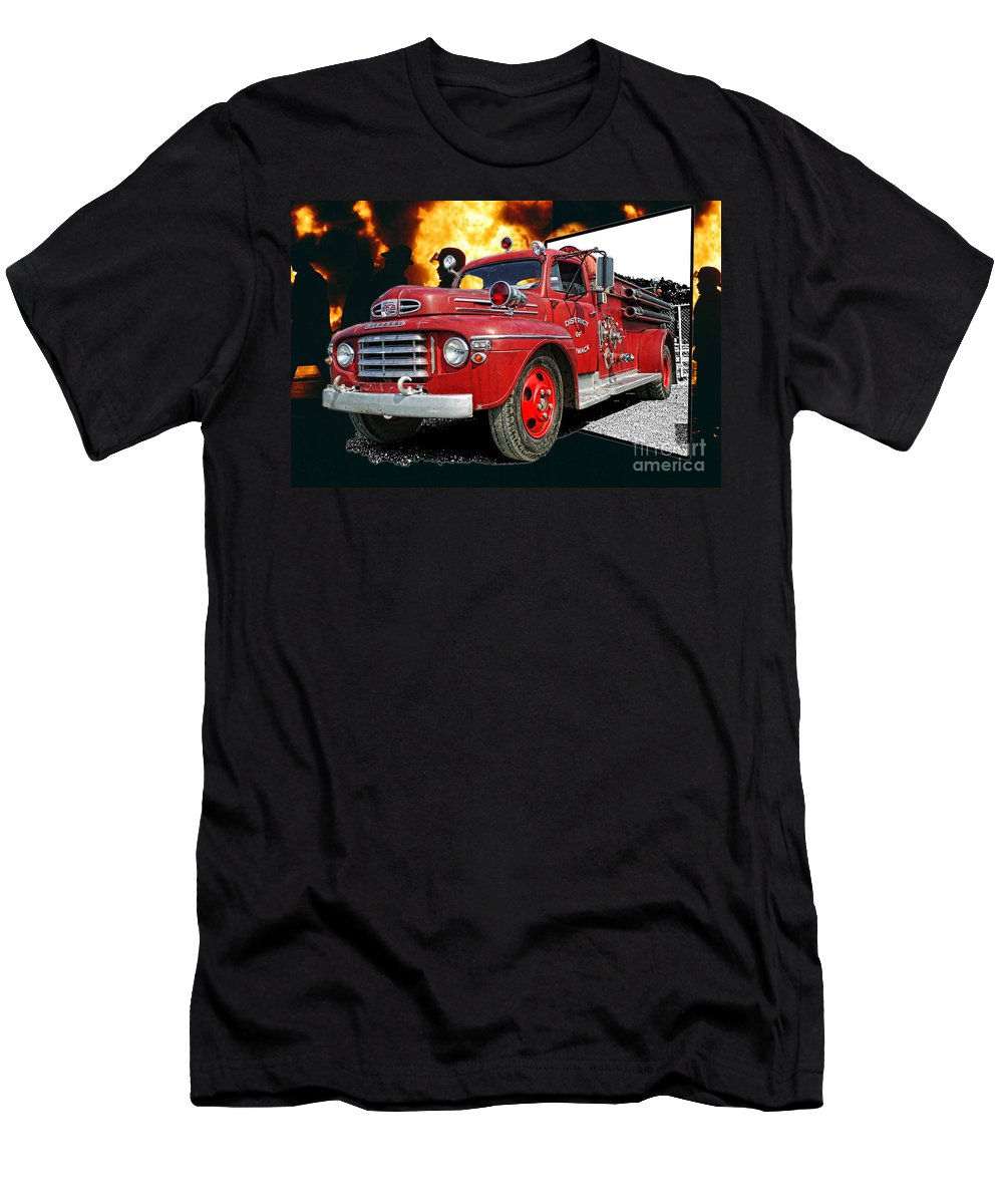 Fire Trucks Men's T-Shirt (Athletic Fit) featuring the photograph Chilliwack Fire-coming Out Into The Fire by Randy Harris