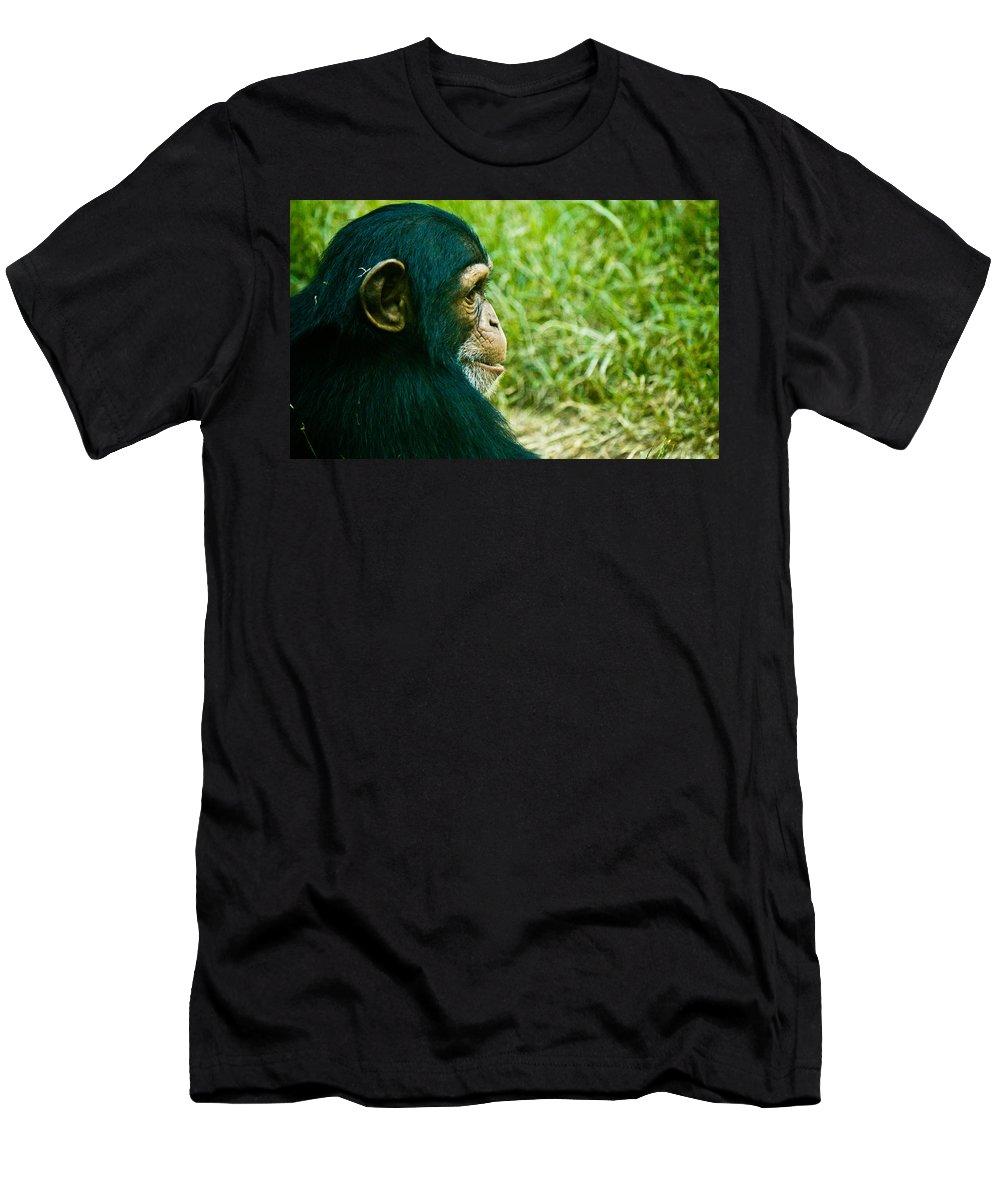 Color Men's T-Shirt (Athletic Fit) featuring the photograph Chimpanzee Profile by Jonny D