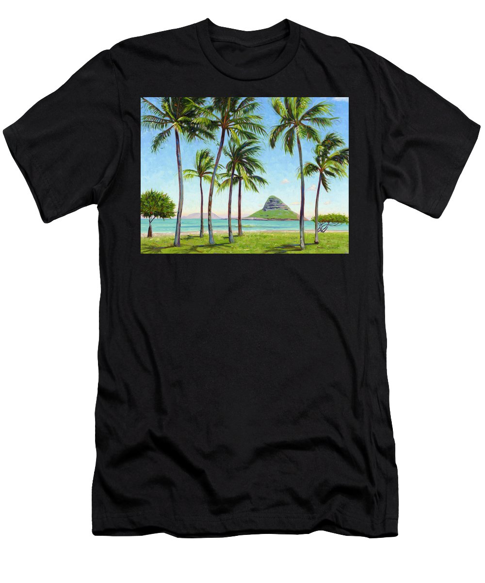 Chinamans Hat Men's T-Shirt (Athletic Fit) featuring the painting Chinamans Hat - Oahu by Steve Simon