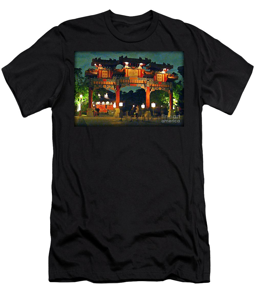 Chinese Entrance Arch Men's T-Shirt (Athletic Fit) featuring the painting Chinese Entrance Arch by John Malone