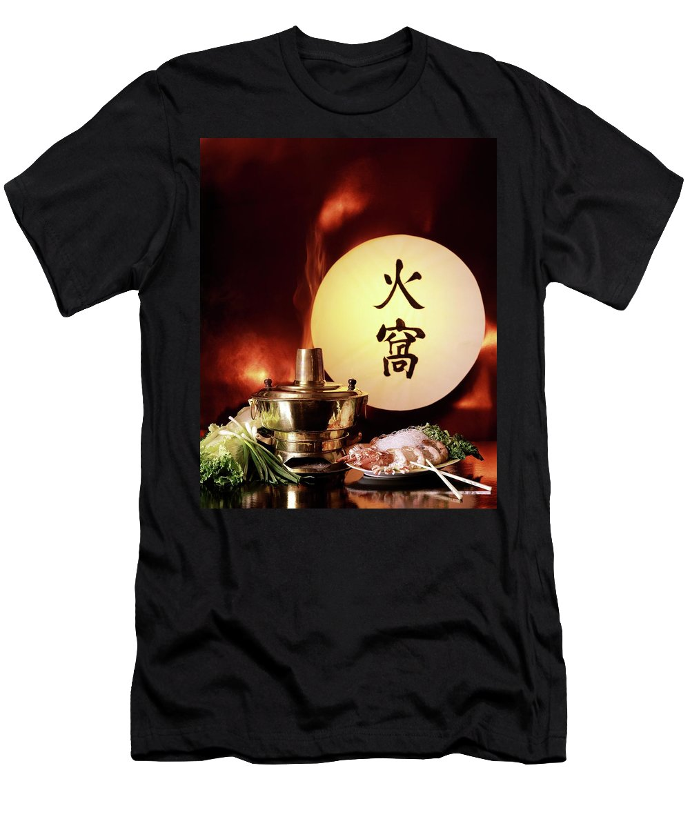 Food Men's T-Shirt (Athletic Fit) featuring the photograph Chinese Food Against A Backgroup Of Flames by Fotiades