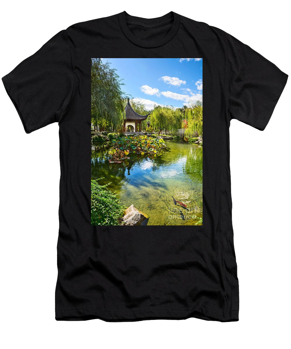 Chinese Garden Men's T-Shirt (Athletic Fit) featuring the photograph Chinese Garden Lake by Jamie Pham