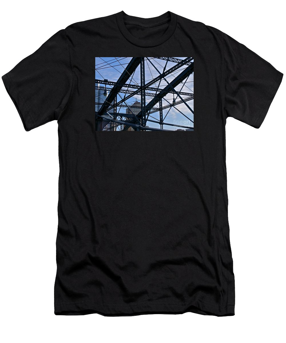Pittsburgh Men's T-Shirt (Athletic Fit) featuring the photograph Choas In The City by LeLa Becker