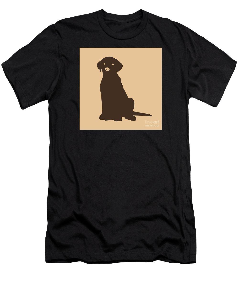 Lab Men's T-Shirt (Athletic Fit) featuring the digital art Chocolate Labrador by Elizabeth Harshman