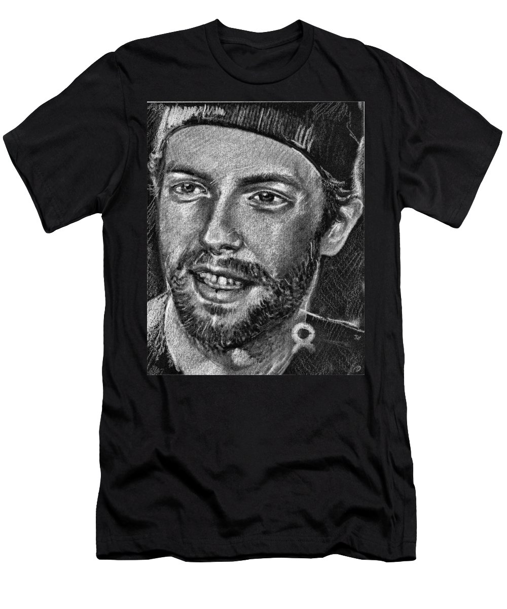 Coldplay Men's T-Shirt (Athletic Fit) featuring the drawing Chris Martin - Coldplay by Daliana Pacuraru
