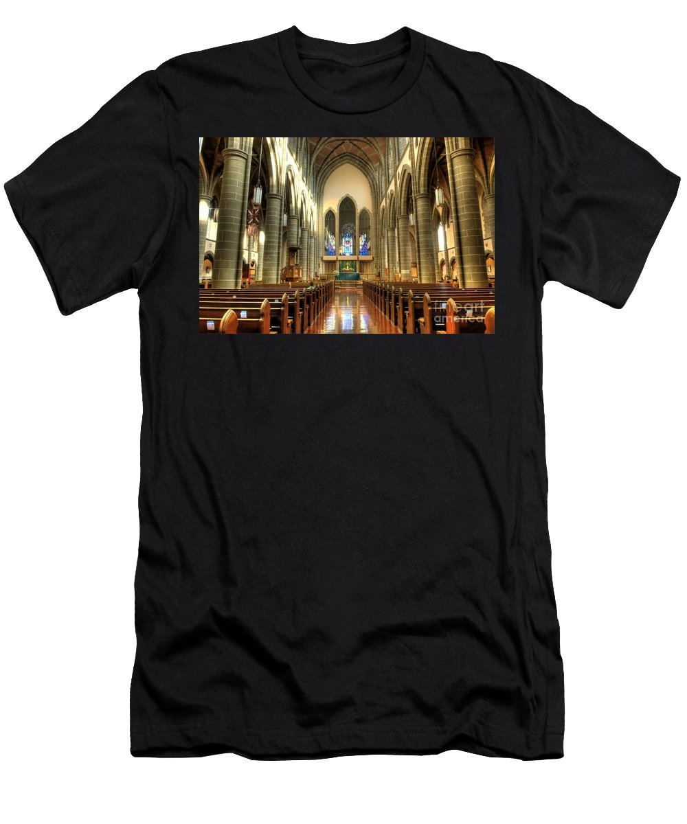 Cathedral Men's T-Shirt (Athletic Fit) featuring the photograph Christ Church Cathedral Victoria British Columbia by Bob Christopher