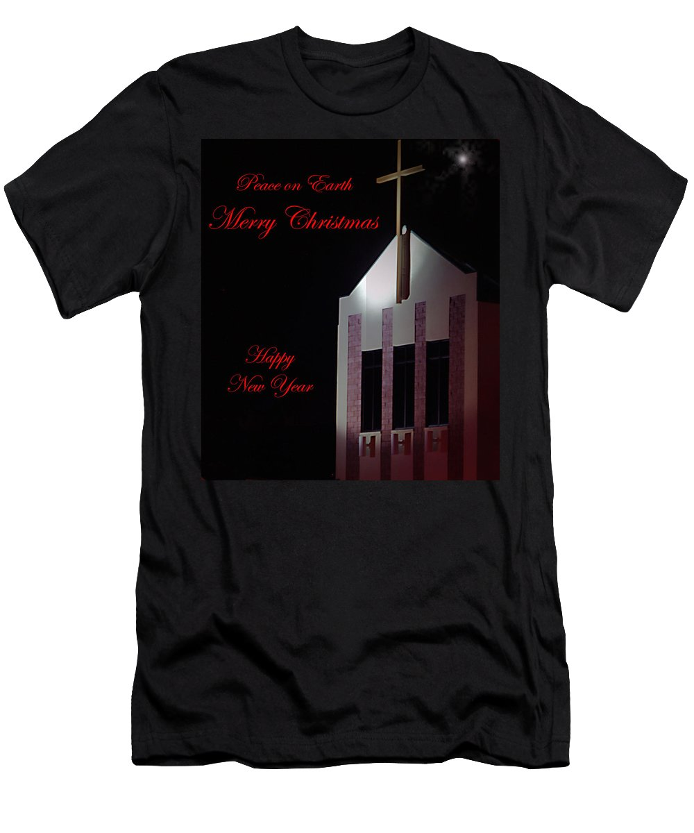 Church Men's T-Shirt (Athletic Fit) featuring the photograph Christmas Church by Bob Johnson