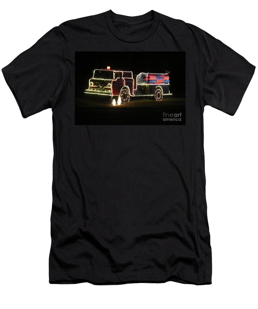 Fire Truck Men's T-Shirt (Athletic Fit) featuring the photograph Christmas Fire Truck 2 by Michelle Powell