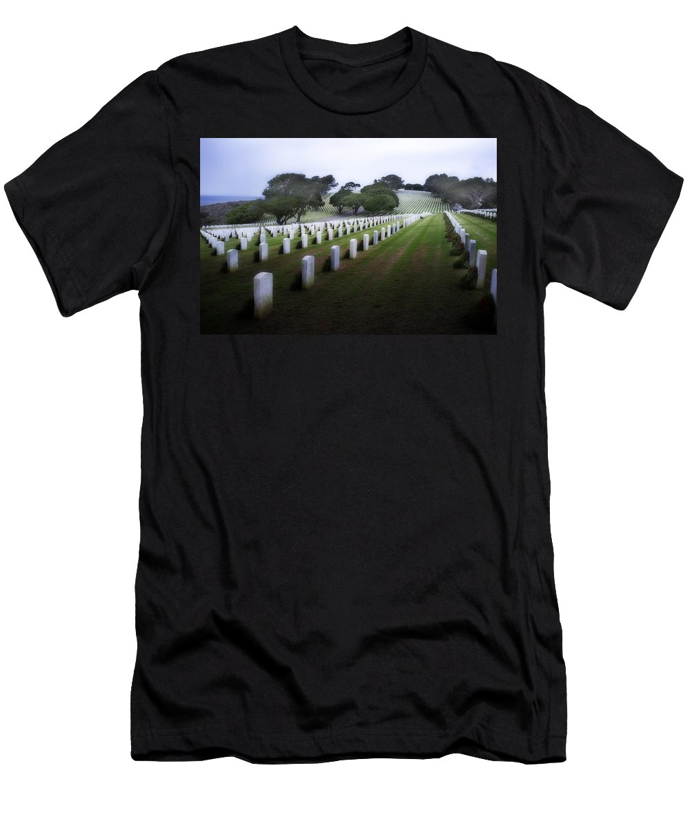 Fort Rosecrans National Cemetery Men's T-Shirt (Athletic Fit) featuring the photograph Christmas Fort Rosecrans National Cemetery by Hugh Smith