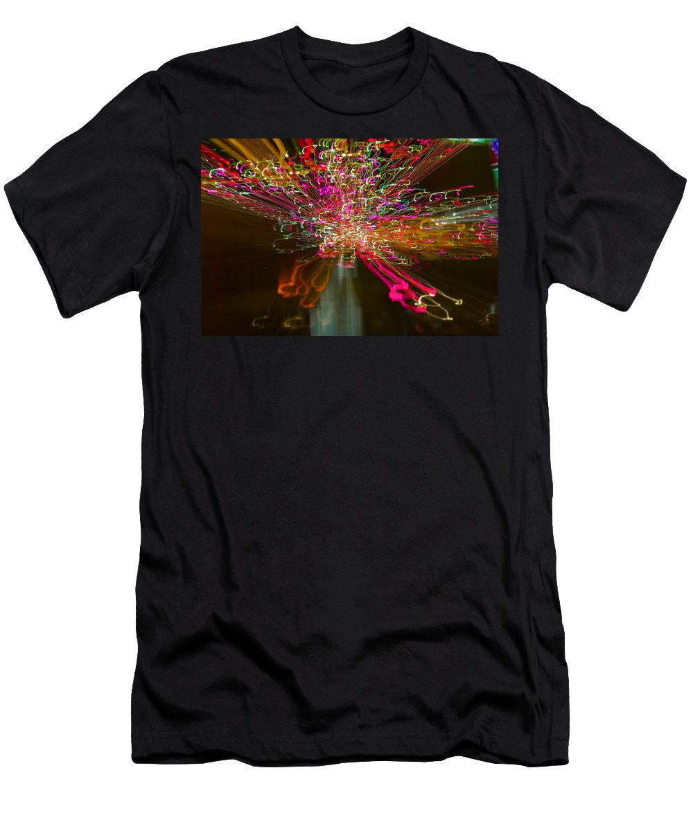 Exploding . Contemporary. Christmas 2017. Lights. .movement. Abstract.colour .london. Sky Line. Christmas. Cards .2017. Men's T-Shirt (Athletic Fit) featuring the photograph Exploding  Lights by Clive Beake