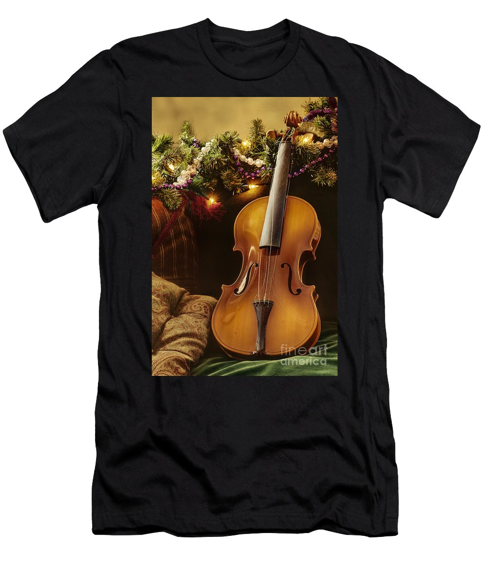 Violin; Music; Instrument; Small; Standing; String; Still Life; Garland; Lights; Pillow; Classic; Classical; Wood; Beautiful; Concert; Musical Men's T-Shirt (Athletic Fit) featuring the photograph Christmas Music by Margie Hurwich