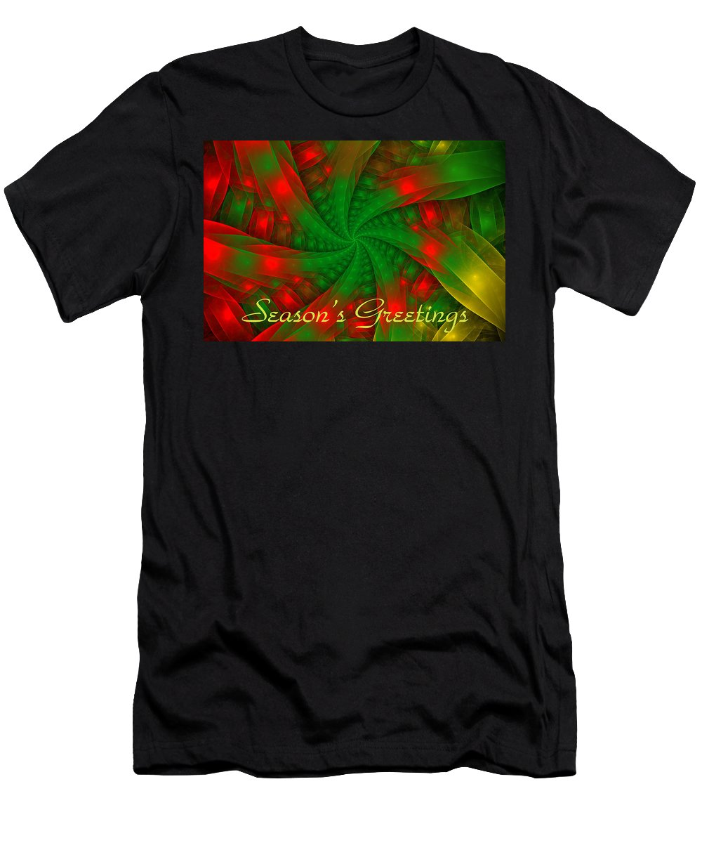 Holiday Card Men's T-Shirt (Athletic Fit) featuring the digital art Christmas Ribbons by Sandy Keeton