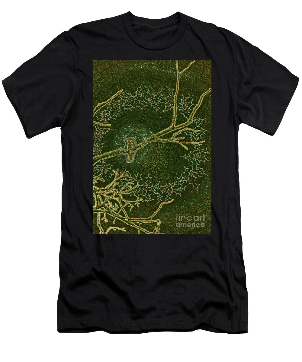 First Star Art Men's T-Shirt (Athletic Fit) featuring the drawing Christmas Songbird by First Star Art