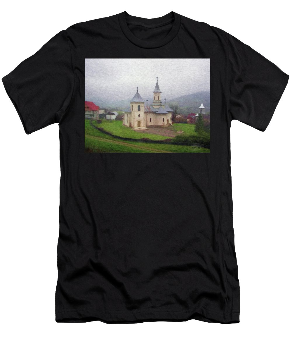 Chapel Men's T-Shirt (Athletic Fit) featuring the painting Church In The Mist by Jeffrey Kolker