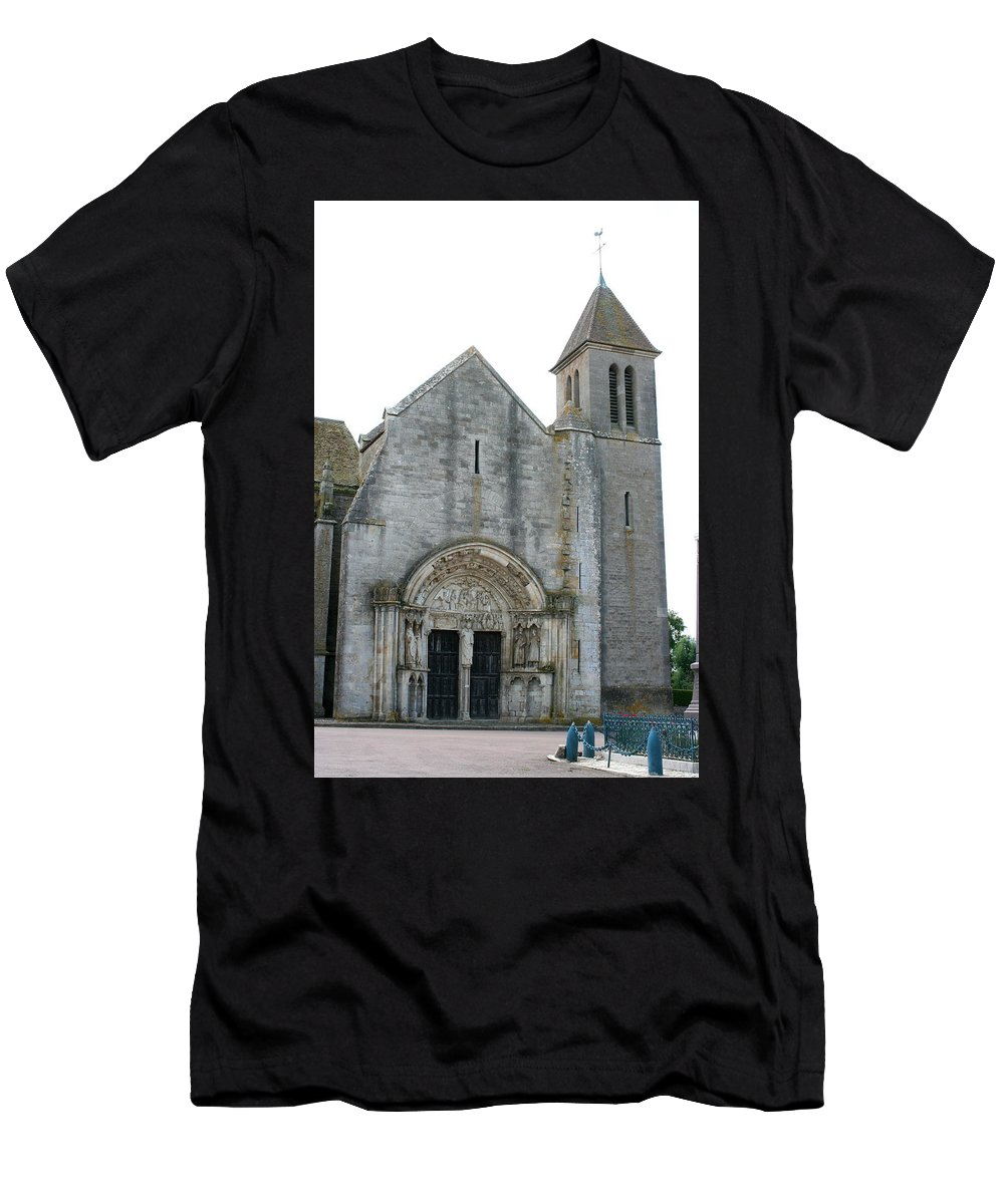 Old Church Men's T-Shirt (Athletic Fit) featuring the photograph Church St Thibault- Burgundy by Christiane Schulze Art And Photography
