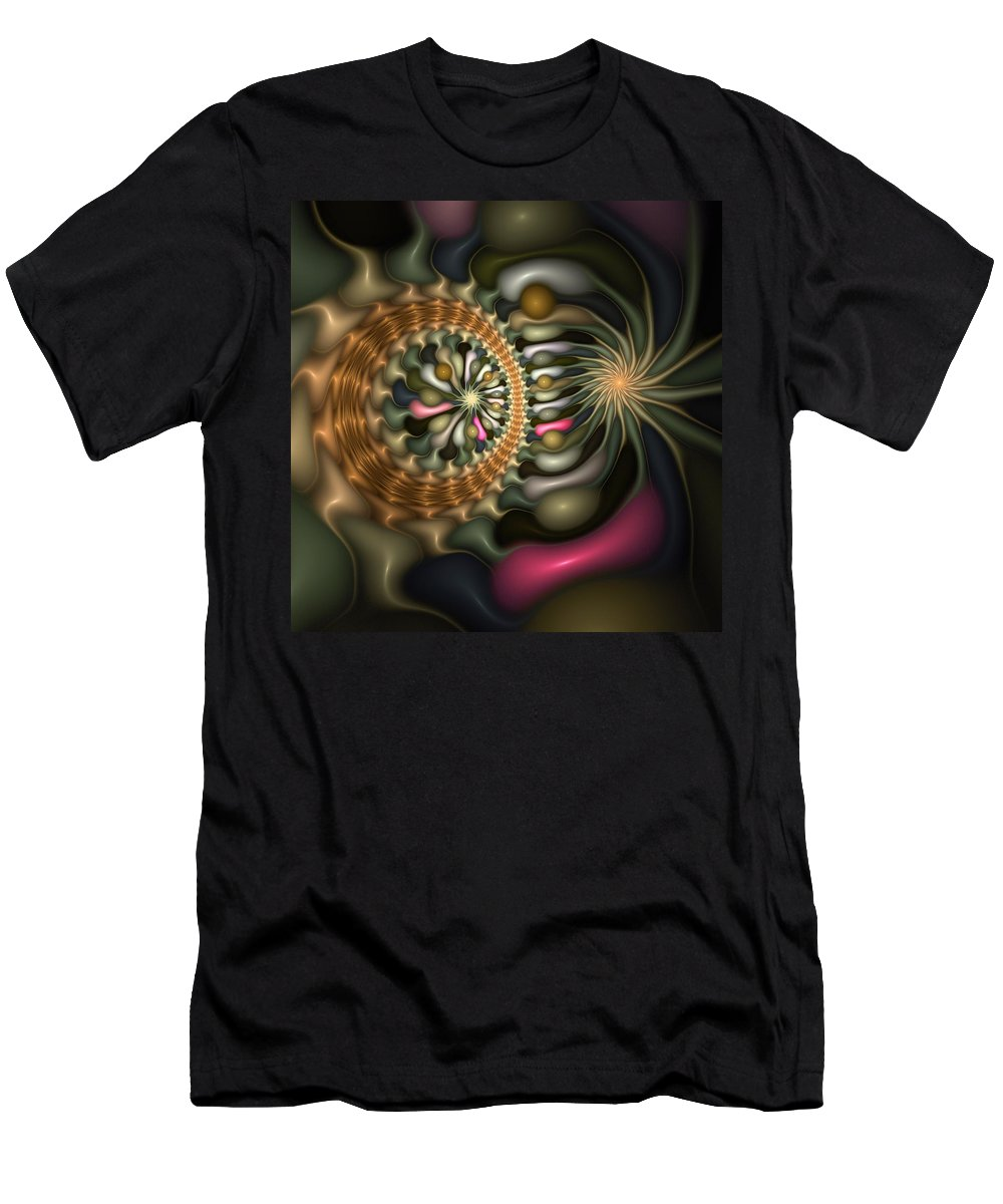Abstract Men's T-Shirt (Athletic Fit) featuring the digital art Cicular Logic Overwhelmed by Casey Kotas