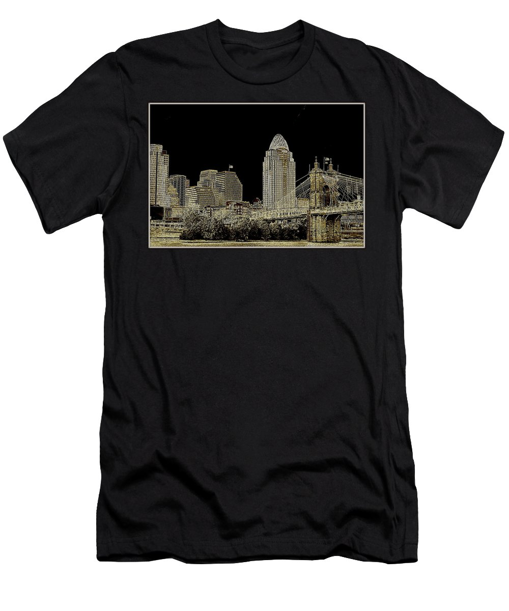 Ohio Men's T-Shirt (Athletic Fit) featuring the photograph The Queen City Cincinnati Ohio by Kathy Barney