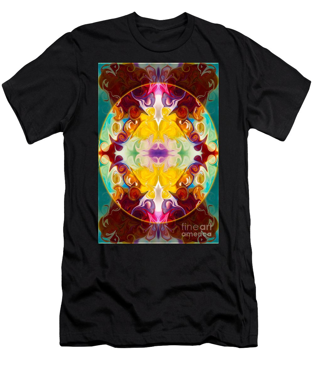 5x7 Men's T-Shirt (Athletic Fit) featuring the digital art Circling The Unknown Abstract Healing Artwork By Omaste Witkowsk by Omaste Witkowski