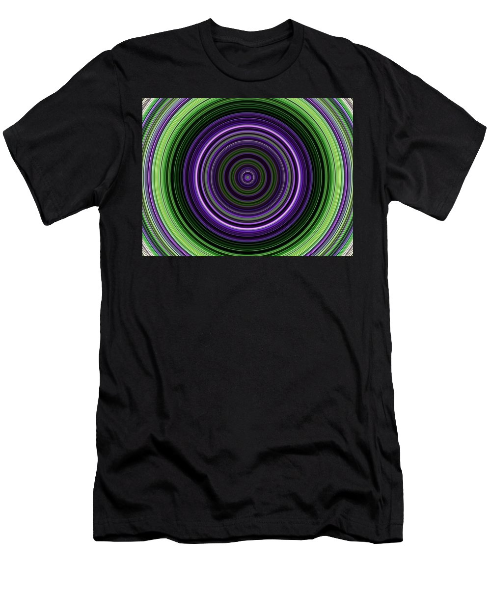 Circular Men's T-Shirt (Athletic Fit) featuring the digital art Circular Concentric Stripes In Multiple Colors by Nenad Cerovic