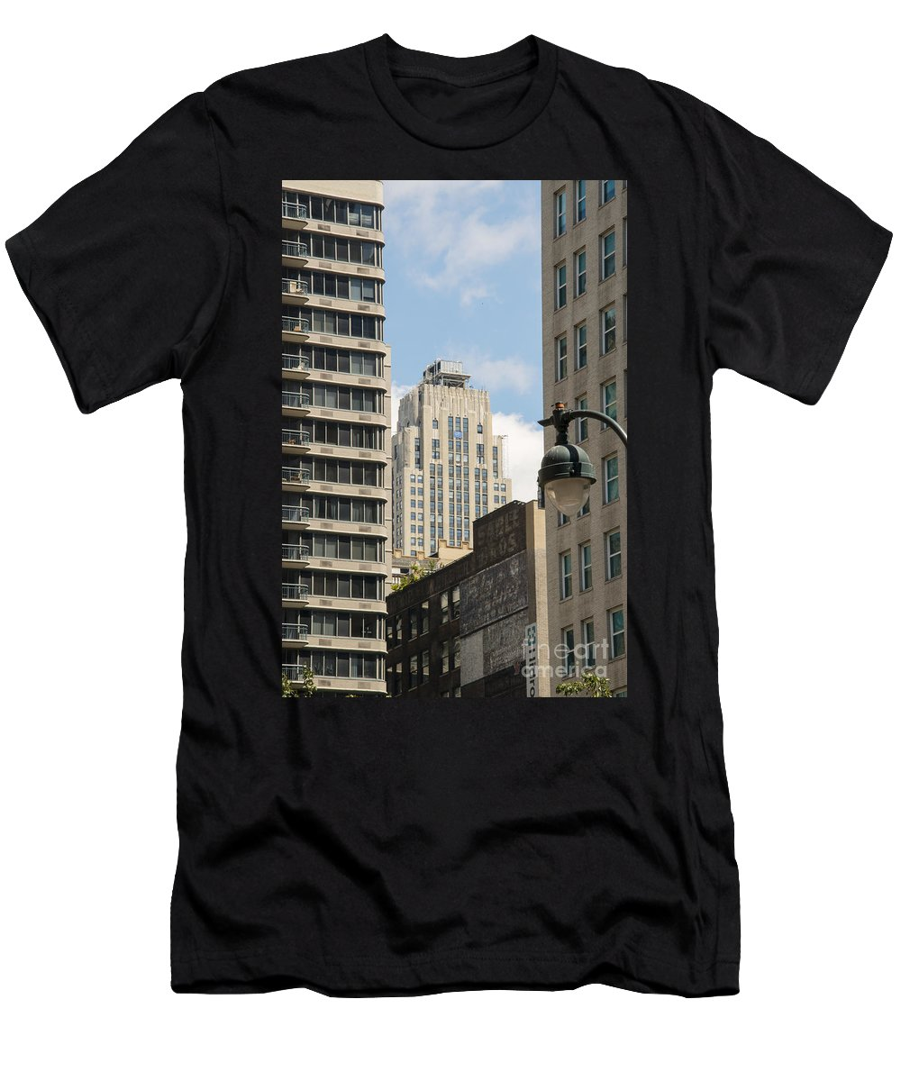 Apartment Building Apartments Buildings Window Windows Structure Structures Architecture New York City Cities Cityscape Cityscapes Men's T-Shirt (Athletic Fit) featuring the photograph City Apartment Living by Bob Phillips