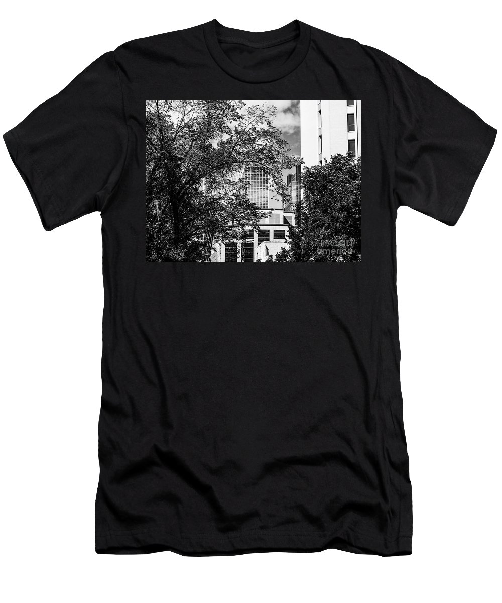 Digital Black And White Men's T-Shirt (Athletic Fit) featuring the photograph City Center-102 by David Fabian