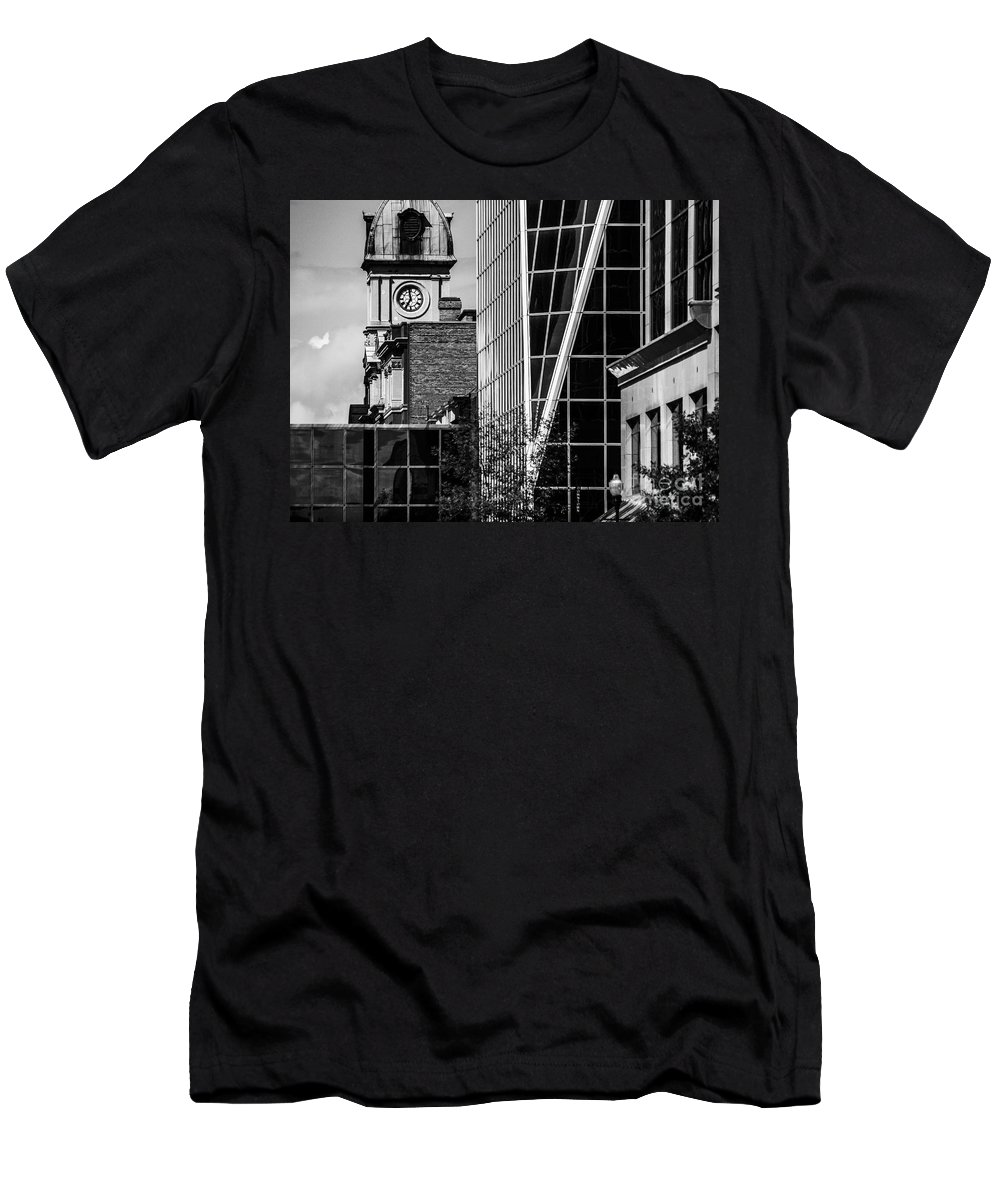 Digital Black And White Men's T-Shirt (Athletic Fit) featuring the photograph City Center-60 by David Fabian