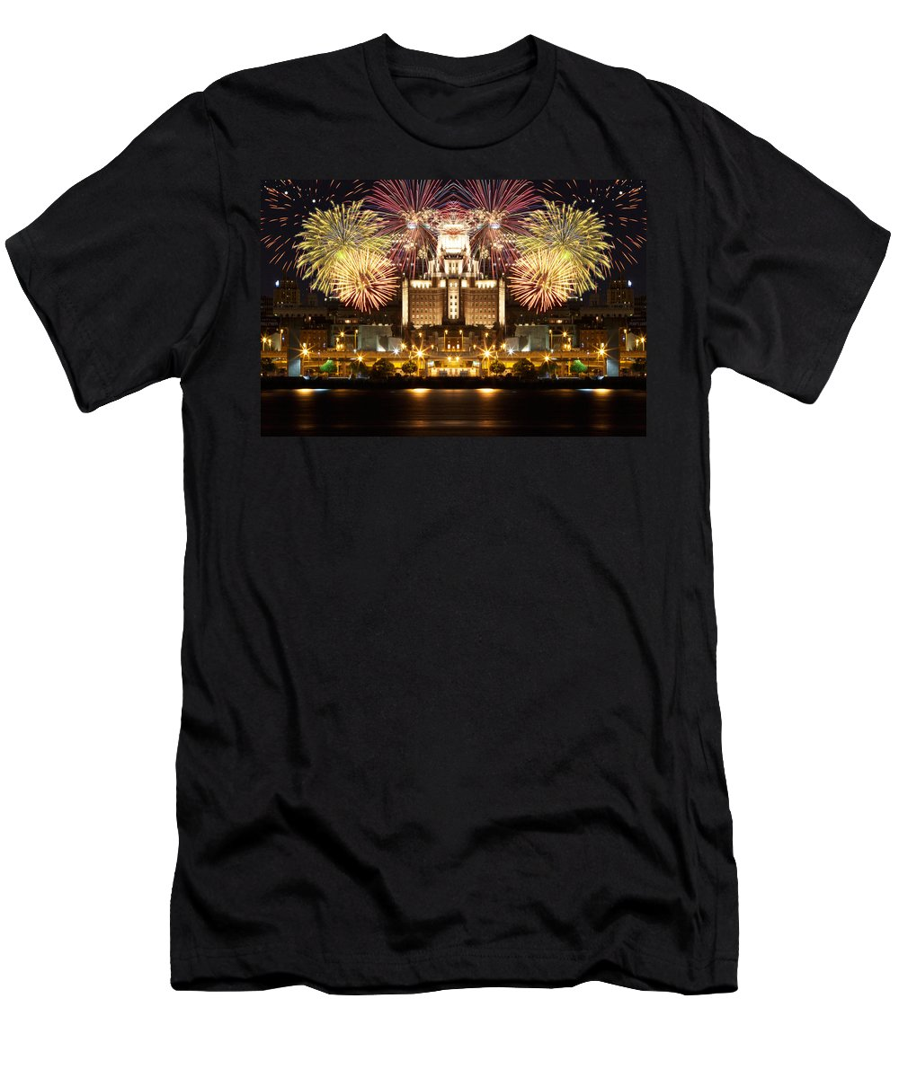 Fireworks Men's T-Shirt (Athletic Fit) featuring the photograph City Fireworks by Alice Gipson