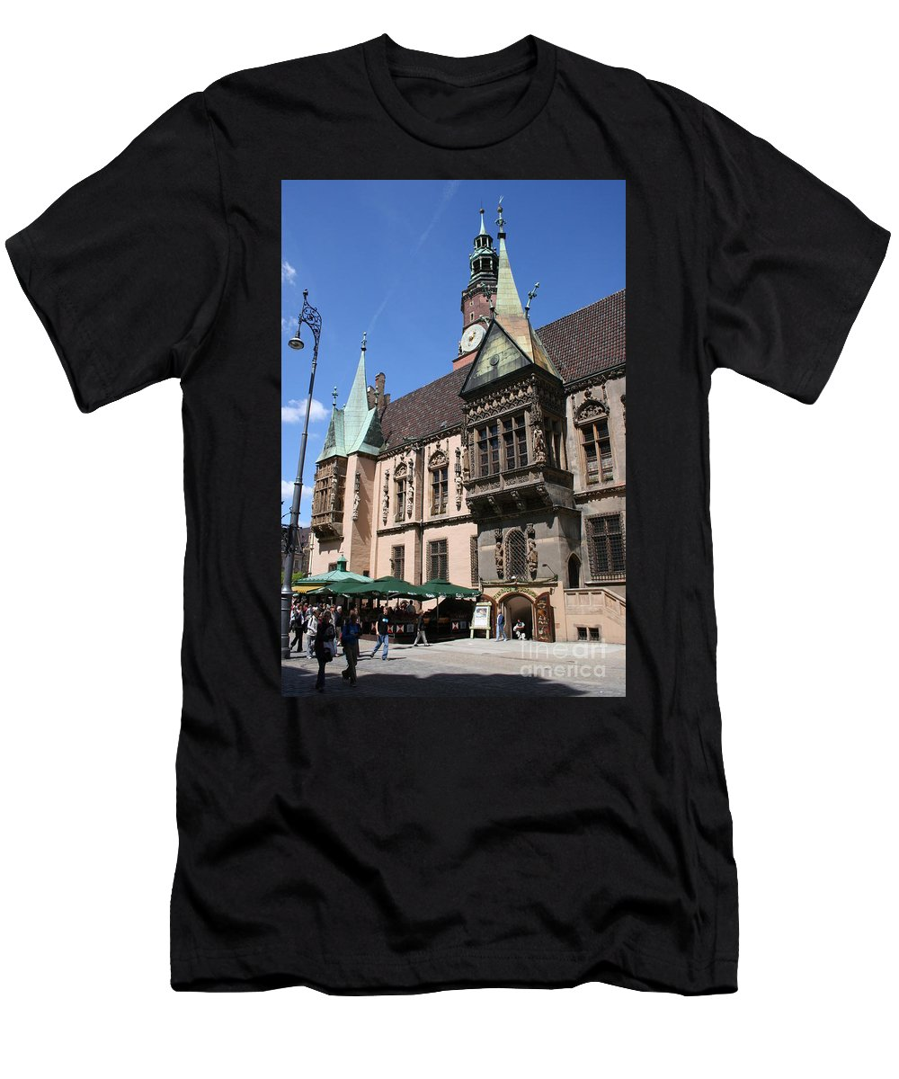 City Hall Men's T-Shirt (Athletic Fit) featuring the photograph City Hall Wroclaw by Christiane Schulze Art And Photography