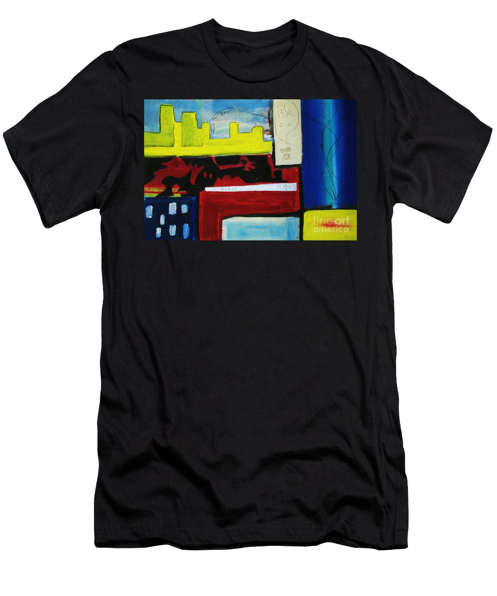 Painting Men's T-Shirt (Athletic Fit) featuring the painting City Life by Jeff Barrett